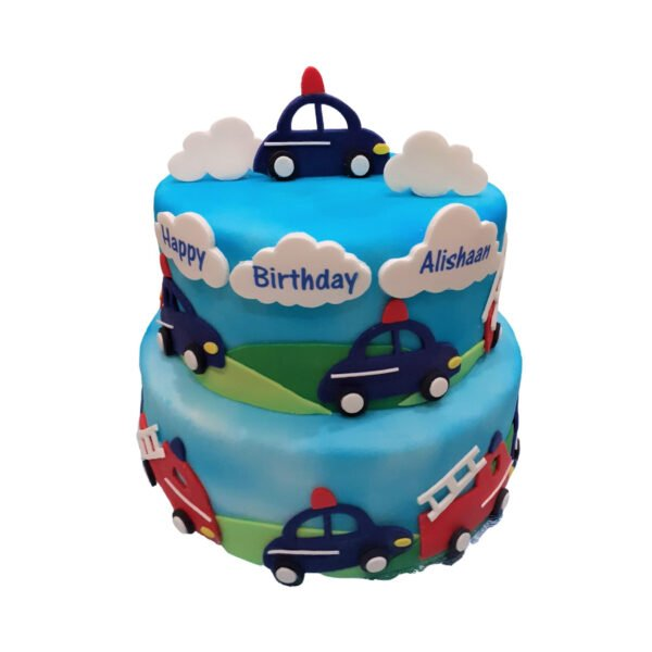 Police and Fire Engine 2 Tier Cake