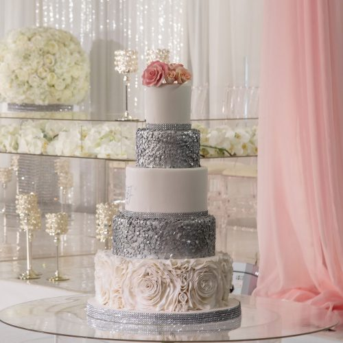 Silver-And-Pink-3-Tier-Wedding-Cake